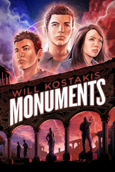 Monuments: 2 teenage boys and a girl above the title; below the title are ruins with statues