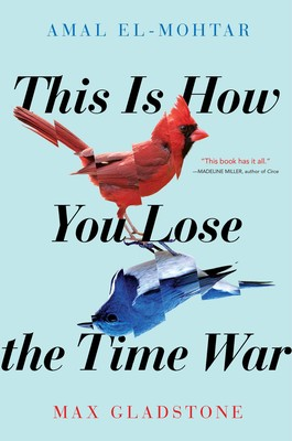 This is How You Lose The Time War: a red bird looks as if a corresponding blue bird is its reflection