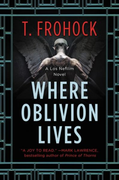 Where Oblivion Lives: an angel with semi-visible wings stands with his back to the viewer