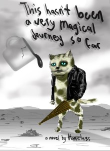 This hasn't been a very magical journey so far: a cat wearing a black leather jacket holding an umbrella stands in a grey desert landscape