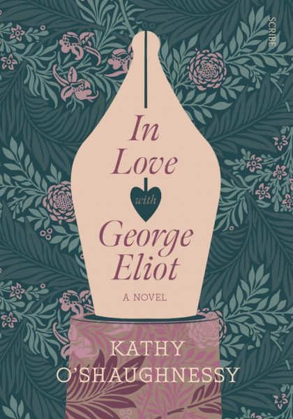 In love with George Eliot : a fountain pen nib dominates a floral wallpaper background