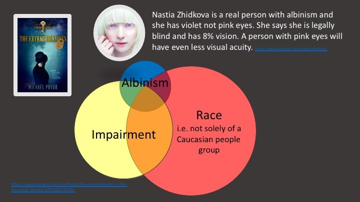 The Extraordinaires is a book with a protagonist who has albinism; this slide shows part of the problem with that representation (explained below)