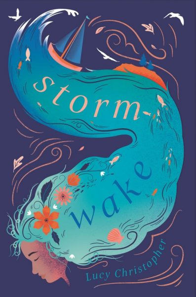 Storm Wak: a girl's face is framed by hair that snakes upwards, becoming water with a boat on the surface