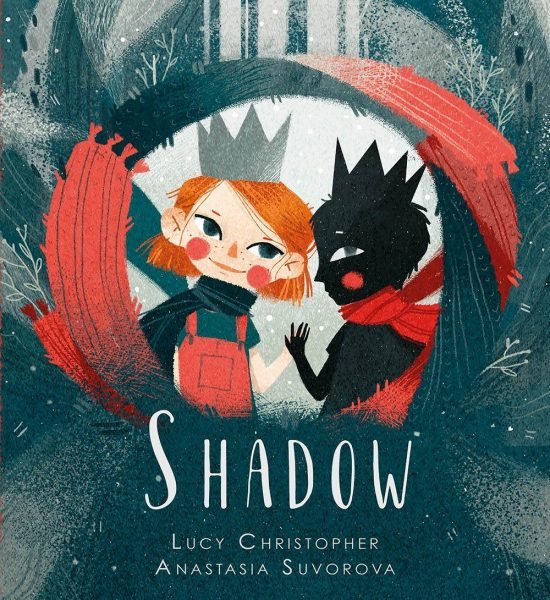 Shadow: a girl and a black figure wearing red play together