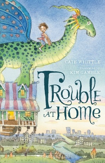 Trouble at home: a child is riding a dragon who is carrying off a house, flying above a city.