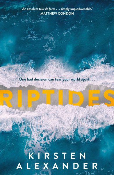 riptides - two waves wash up on a strip of sand from the top and bottom, with the title 'Riptides' in yellow on the sand