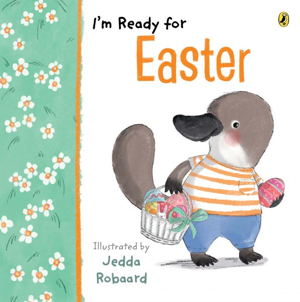 I'm ready for Easter: a playtupus in tee and jeans holds an Easter egg and carries a basket of eggs