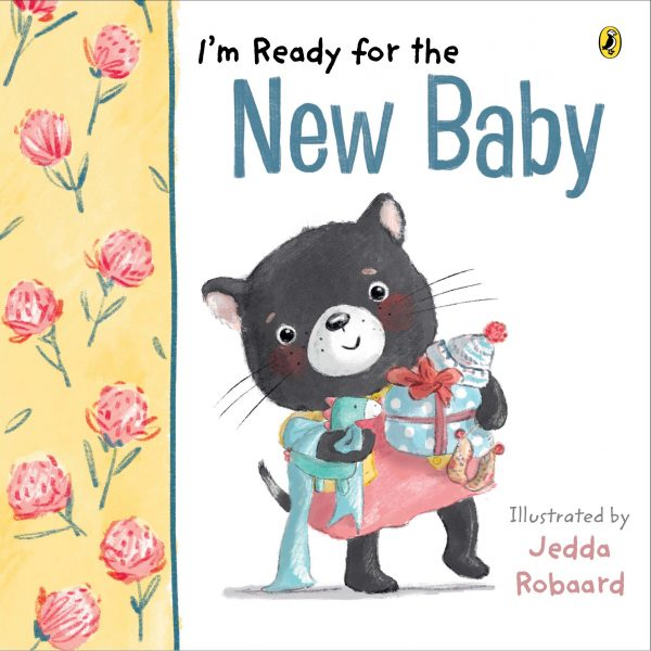 I'm ready for the new baby: an animal - possibly a wombat? wearing a dress carries baby toys and gifts