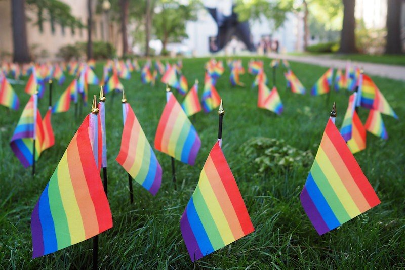 Own Voices people suffer violence: Orlando queer flags, Rainbow flags commemorating the victims of the Orlando Pulse shooting. Photo by Maia Weinstock (Creative Commons).