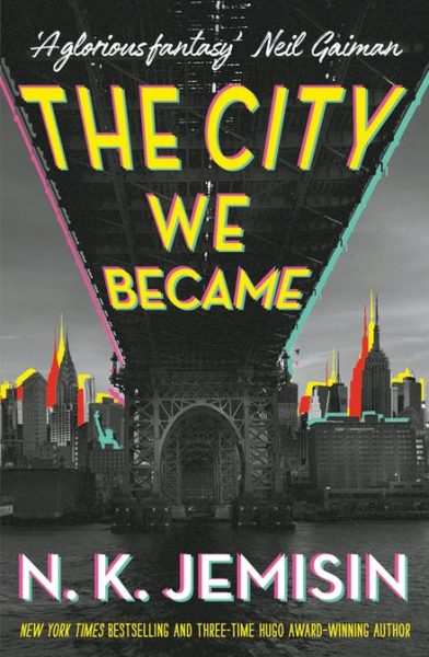 The City We Became: Red, yellow and green outlines around a bridge and skyline imply a city made of composite layers