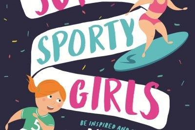 super sporty girls: one girl kicks a ball, another surfs around the title