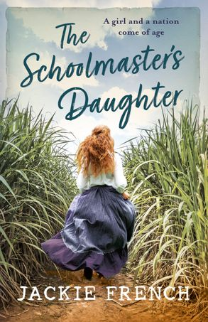 Schoolmaster's daughter: a girl runs away from the reader between banks of tall plants