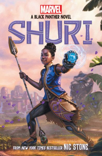 Shuri, a teenage African girl, stands in a fighting pose while holding a spear and a device