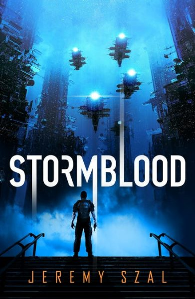 Stormblood - a man stands in a hi tech futuristic city with drones overhead