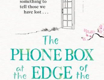 the Phone Box At The Edge Of The World: a line drawing of a phone box is framed by sakura blossoms