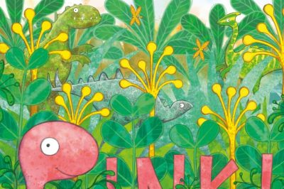 Pink! A pink dinosaur tries to hide in lush green foliage