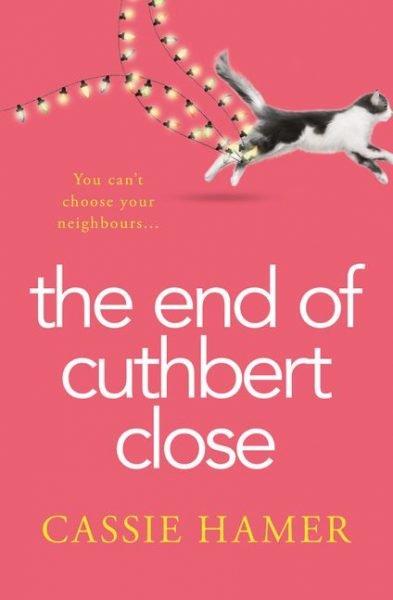 The end of cuthbert close: a cat runs past dragging fairy lights