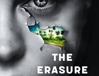 Erasure initiative: a black and white face has a tear through which we see a landscape