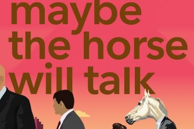 Maybe the horse will talk: people and an anthropomorphic horse walk through a cityscape