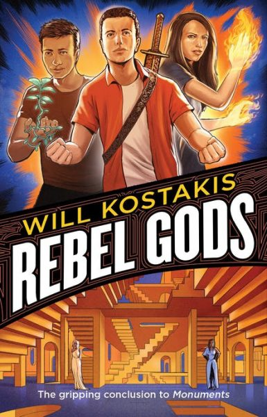 Rebel Gods: Connor, Sally and Locky stand above the title wielding their powers, while the labyrinth is below