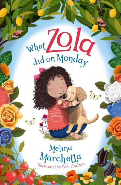 What zola did on monday: a little girl hugs a dog under the title