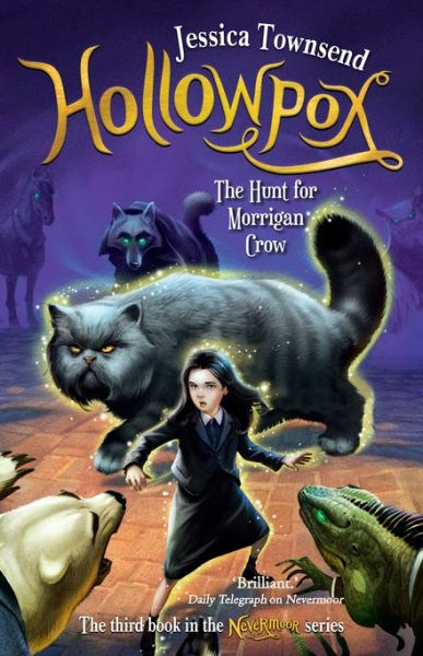 Hollowpox: an enormous cat - a Magnificat - prowls behind Morrigan who is facing down large wunimals