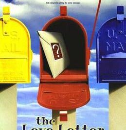 Love letter: 3 letter boxes stand in a row, the center one is open with a letter inside