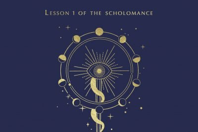 deadly education: arcane symbols are depicted in gold debossing on a navy blue background