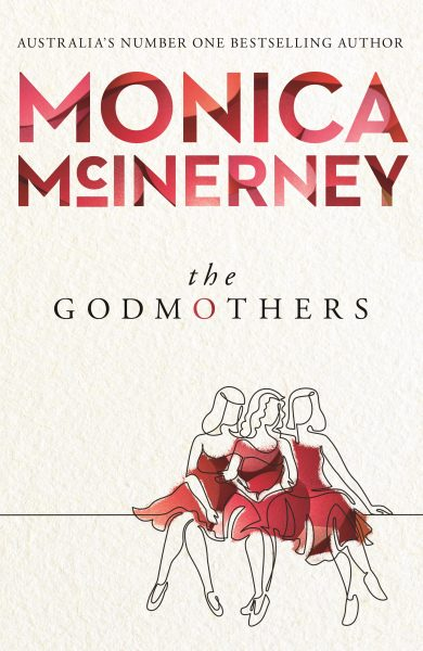 The Godmothers: three women in red evening dresses sit below the title