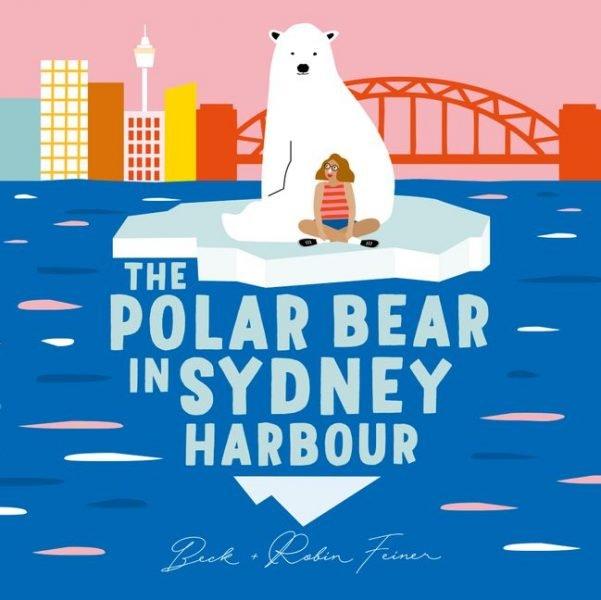 The Polar Bear in Sydney Harbour: a polar bear and a girl sit on an ice floe with the Sydney Harbour Bridge and city skyline behind them