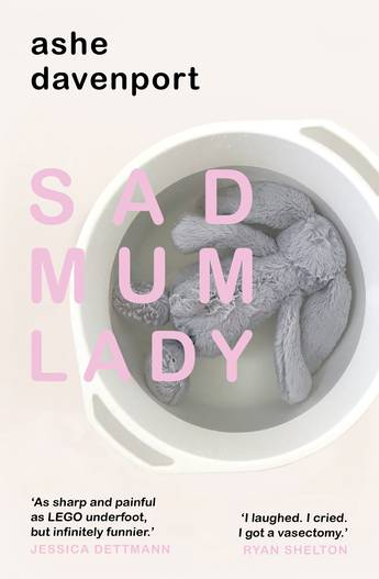 Sad Mum Lady: a grey rabbit soft toy lies face down in a container of water