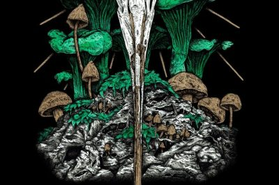 Dawnhounds: toadstools surround a skull (I think)