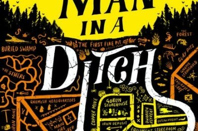 Dead man in a ditch: a rough map covers the lower portion of the cover, topped with a city skyline and a yellow sky with the title imposed across it