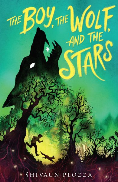 The Boy, the wolf and the stars: a wolf eats a star over a boy running past a tree