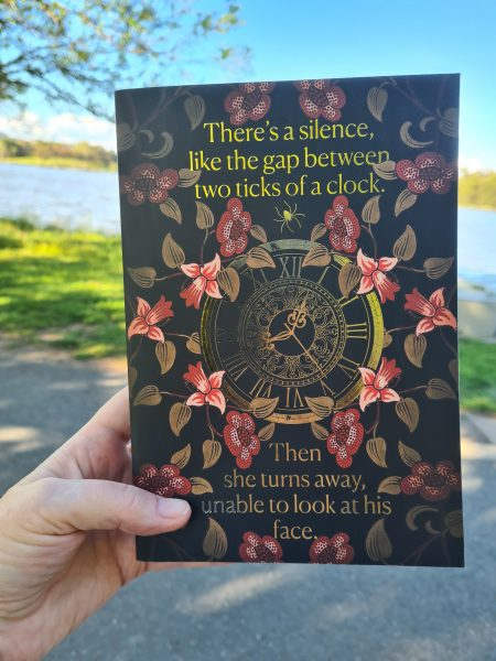 Betrayals by Bridget Collins - photo in the wild with Lake Tuggeranong in the background