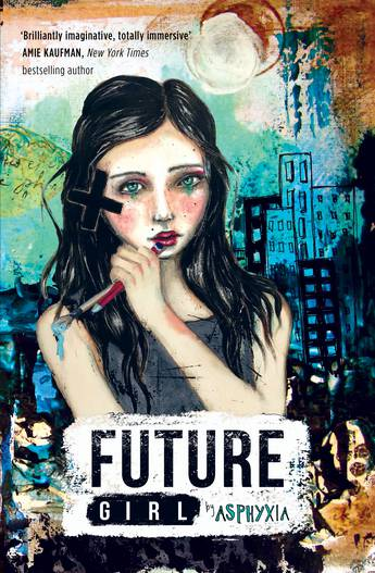 Future girl: a girl ponders her art, with a cross over her ear indicating she is Deaf