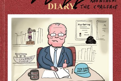 The Scomo Diaries cover: Scotty sits at his desk with a Maga hat, mug, coal and trophy.