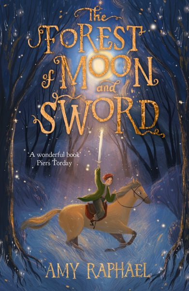 The Forest of Moon and Sword: a girl on a horse holds a sword high while galloping through a forest