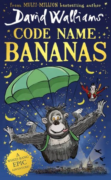 Code Name Bananas by David Walliams: Gertrude the gorilla parachutes over the city of London, which is being bombed by Nazi planes