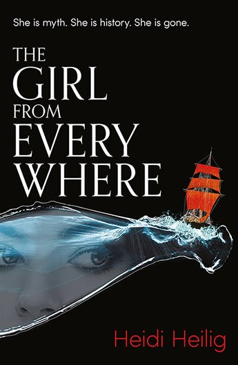 """Girl from Everywhere: eyes look through a """"tear"""" in the page that doubles as ocean on which a tall ship sails"""