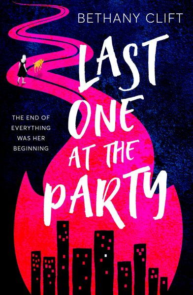 Last one at the party: a city silhouette is encompassed by hot pink flames that become a road further up the cover