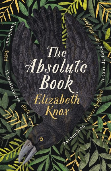 The Absolute Book: a raven lies surrounded by leaves