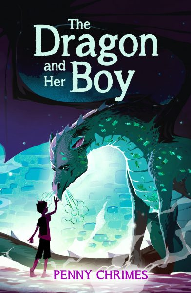 Dragon and her boy: a boy reaches up to touch a dragon's snout
