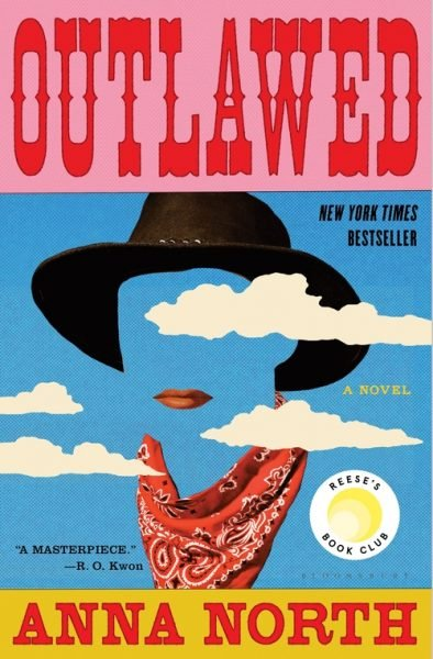 The title Outlawed appears above a hat, scarf and painted lips on a blue background, partially obscured by a few white cartoonish clouds