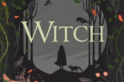 Witch: a girl and her dog stand in silhouette in a path through a wood