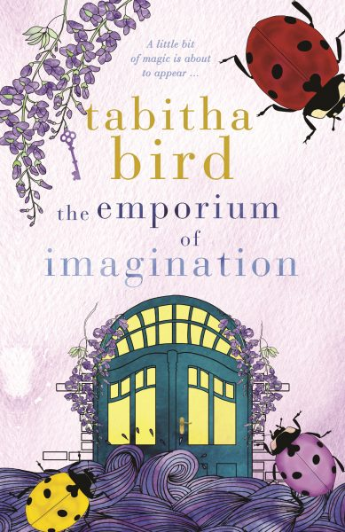 The Emporium of Imagination: green doors with yellow windows are surrounded by purple wisteria