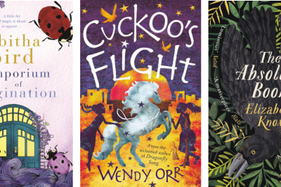 Good Grief: International Women's Day podcast with Tabitha Bird, Wendy Orr and Elizabeth Knox. Pictured: Emporium of Imagination, Cuckoo's Flight and The Absolute Book covers