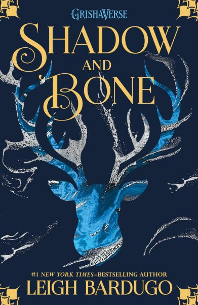 Shadow and Bone: a stag's head is portrayed in blue and grey below the title