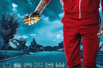 witness infection poster: man wearing a red tracksuit walks along a road holding a hotdog