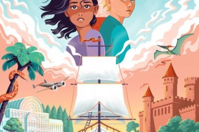 The world between blinks: a brown girl and a white boy are below a lighthouse and above a tall ship and some exotic locations